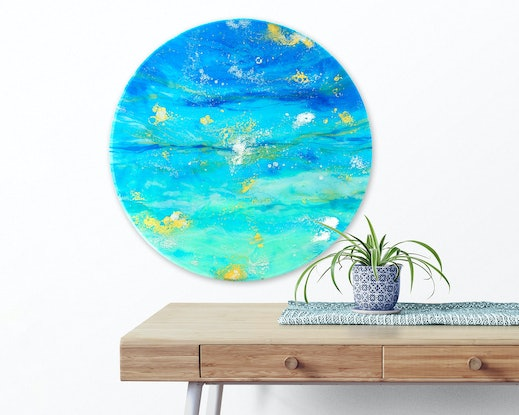 (CreativeWork) Ocean Resin Art - All That Shimmers by Michelle Tracey. Resin. Shop online at Bluethumb.