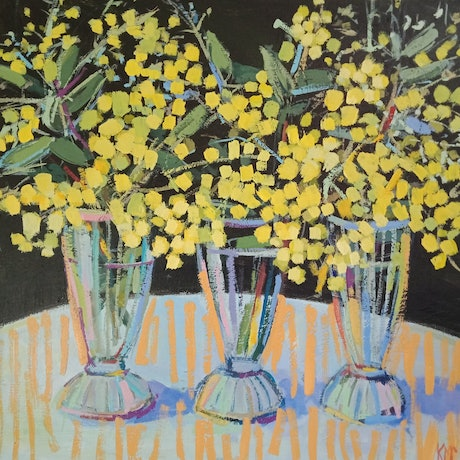 (CreativeWork) WATTLE ON A SUNDAE by Karen McPhee. Acrylic Paint. Shop online at Bluethumb.