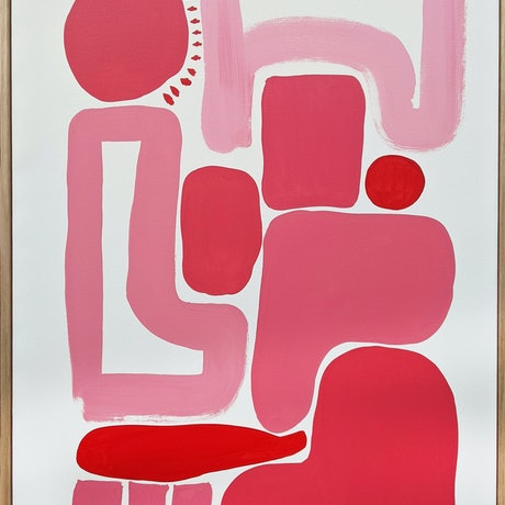 (CreativeWork) Pink and Red II - Now framed in Tasmanian Oak by Ellen McKenna. Acrylic Paint. Shop online at Bluethumb.