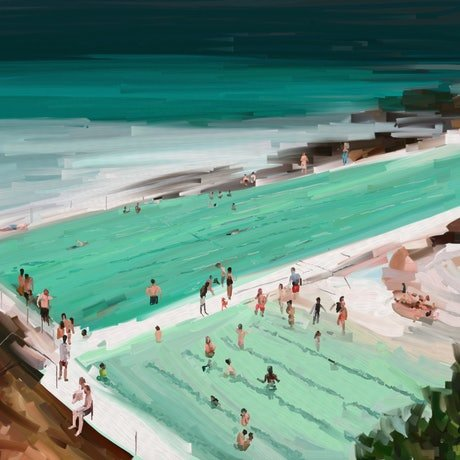 (CreativeWork) Bondi Daze    Ed. 11 of 25 by Pip Phelps. Print. Shop online at Bluethumb.