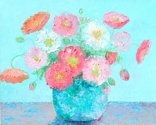 (CreativeWork) A NEW DAY - POPPIES STILL LIFE by Jan Matson. Oil Paint. Shop online at Bluethumb.