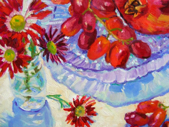 """(CreativeWork) """"Red Fruit and Red Flowers"""" by Daniela Selir. Oil Paint. Shop online at Bluethumb."""
