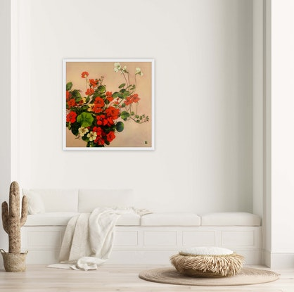 (CreativeWork) Floating Nasturtiums  (oil on linen) by JULIE LYNCH. Oil Paint. Shop online at Bluethumb.