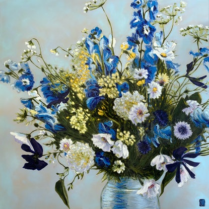 (CreativeWork) Daisies & Cornflowers  (Oil on Linen) by JULIE LYNCH. Oil Paint. Shop online at Bluethumb.