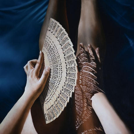 (CreativeWork) An Echo of Light and Lace by Sarah Park. Oil Paint. Shop online at Bluethumb.