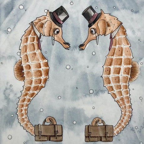 (CreativeWork) Greetings  by Time Found Tails .. Watercolour Paint. Shop online at Bluethumb.