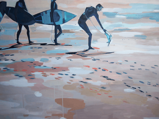 (CreativeWork) Surf Hour (Includes Framing) by Tulika Das. Acrylic Paint. Shop online at Bluethumb.