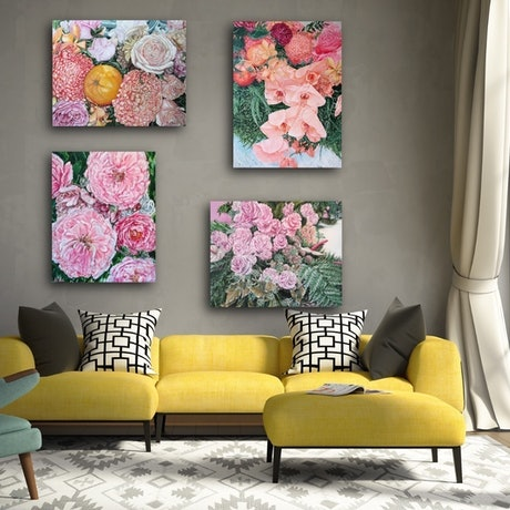 (CreativeWork) Bloom Like Flowers series set of 4- LIMITED EDITION GICLEE PRINT on stretched canvas Ed. 99 of 100 by HSIN LIN. Print. Shop online at Bluethumb.