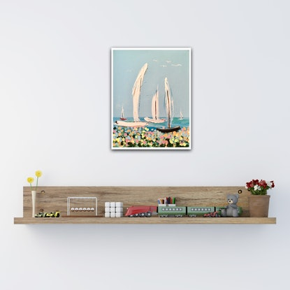 (CreativeWork) Sunday Sail by Meredith Howse. Acrylic Paint. Shop online at Bluethumb.