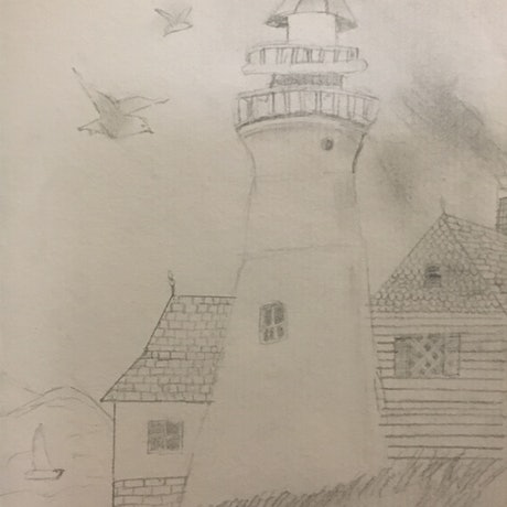 (CreativeWork) Lighthouse by Harriet Lionheart. Drawings. Shop online at Bluethumb.