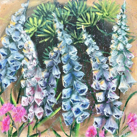 (CreativeWork) Our Safe Place - Foxglove  by HSIN LIN. Acrylic Paint. Shop online at Bluethumb.