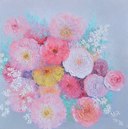 (CreativeWork) THINKING OF YOU - IMPASTO FLOWERS by Jan Matson. Oil Paint. Shop online at Bluethumb.