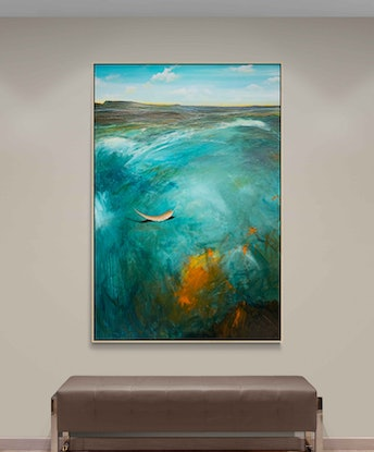 (CreativeWork) The Bay At Dusk 152X102cm Extra Large Textured by Tania Chanter. Acrylic Paint. Shop online at Bluethumb.