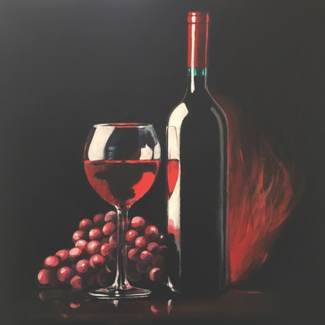 (CreativeWork) Red Red Wine by Kathryn Johnston. Acrylic Paint. Shop online at Bluethumb.