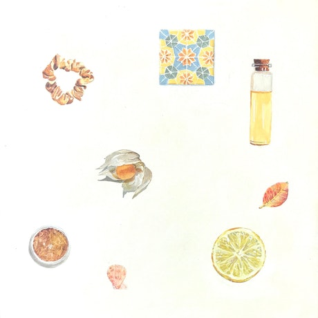 (CreativeWork) Favourite Things - Orange by Jane Grierson. Acrylic Paint. Shop online at Bluethumb.