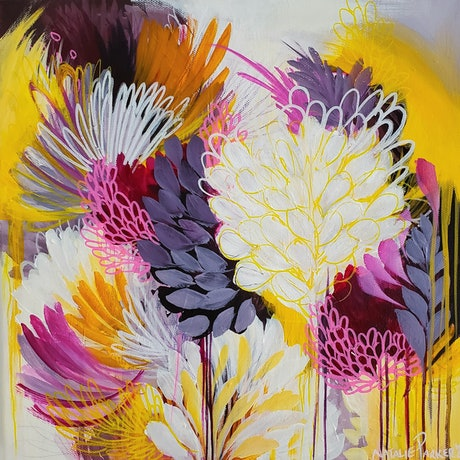 (CreativeWork) Purple and Yellow Blooms by Natalie Sarah Parker. Acrylic Paint. Shop online at Bluethumb.