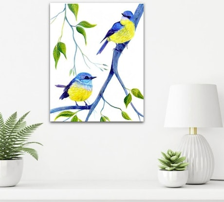 (CreativeWork) Yellow Robins - Lazy Days by Linda Callaghan. Acrylic Paint. Shop online at Bluethumb.