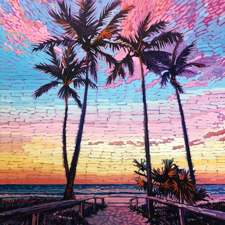 (CreativeWork) Candy Skies by Michael Baker. Oil Paint. Shop online at Bluethumb.