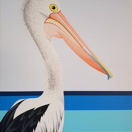 (CreativeWork) Paco The Pelican by Michelle Jirsensky. Acrylic. Shop online at Bluethumb.