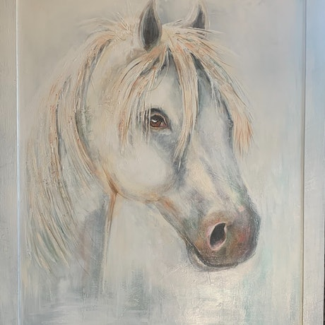 (CreativeWork) 'Ghost' by Sandy Muston. Acrylic. Shop online at Bluethumb.