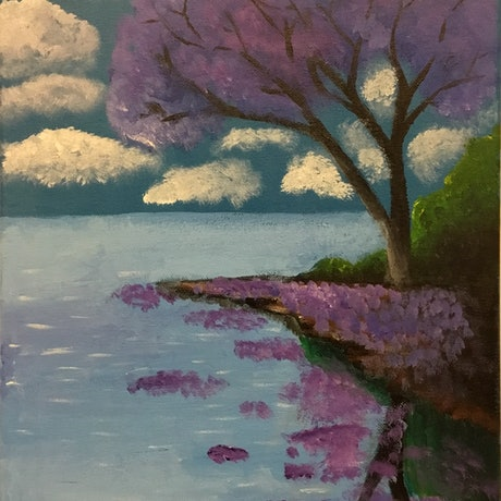 (CreativeWork) Cherry blossoms by Coco Tokyo. Acrylic Paint. Shop online at Bluethumb.