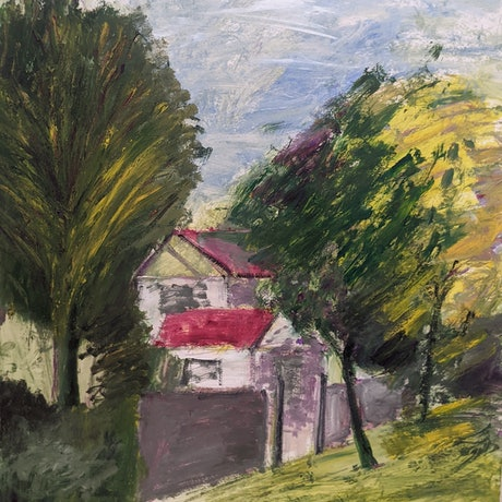 (CreativeWork) The house next to the park by Hang Minh Vu. Oil Paint. Shop online at Bluethumb.