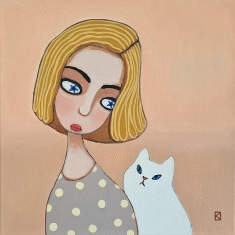 (CreativeWork) All Peachy 1 - Girl In Polka Dot Dress and White Cat - Little Guardians - People - Animals  by Olga Kolesnik. Acrylic Paint. Shop online at Bluethumb.