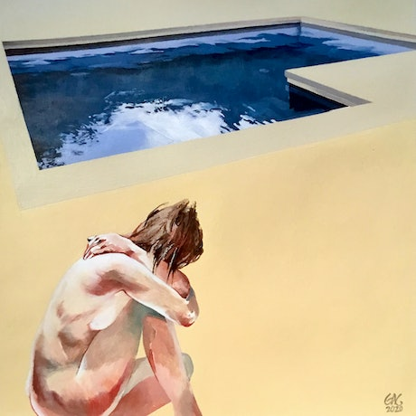 (CreativeWork) Summer Pool by Geoff Coleman. Acrylic Paint. Shop online at Bluethumb.