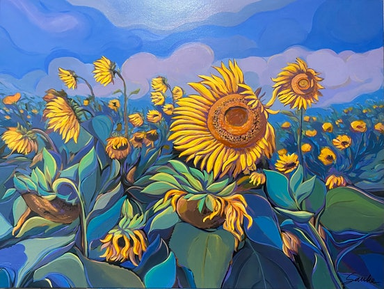 (CreativeWork) Sunflower Field  by Sarika Sriwong-rach. Acrylic Paint. Shop online at Bluethumb.