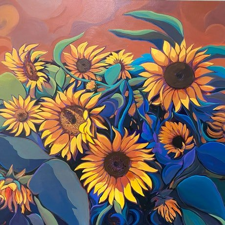 (CreativeWork) Yellow Blooms  by Sarika Sriwong-rach. Acrylic Paint. Shop online at Bluethumb.