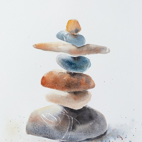 (CreativeWork) Balance by Anastasia Mily. Watercolour Paint. Shop online at Bluethumb.