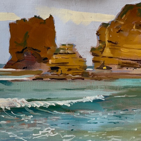 (CreativeWork) Aireys Inlet Morning by Ray Wilson. Oil Paint. Shop online at Bluethumb.