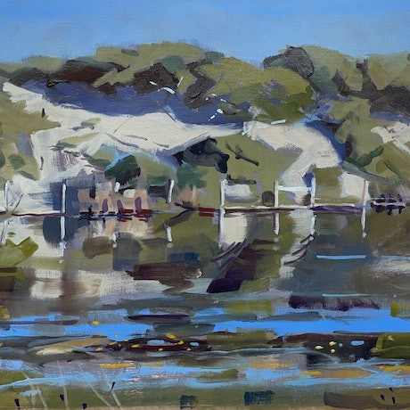(CreativeWork) Inlet Dunes, Aireys Inlet by Ray Wilson. Oil Paint. Shop online at Bluethumb.