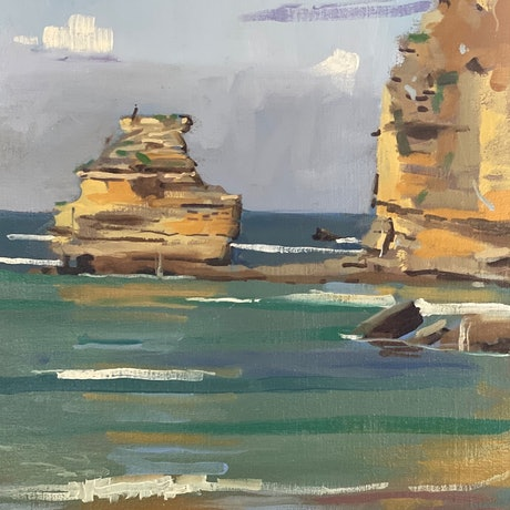 (CreativeWork) Reflecting Cliffs on a Full Tide, Aireys Inlet by Ray Wilson. Oil Paint. Shop online at Bluethumb.