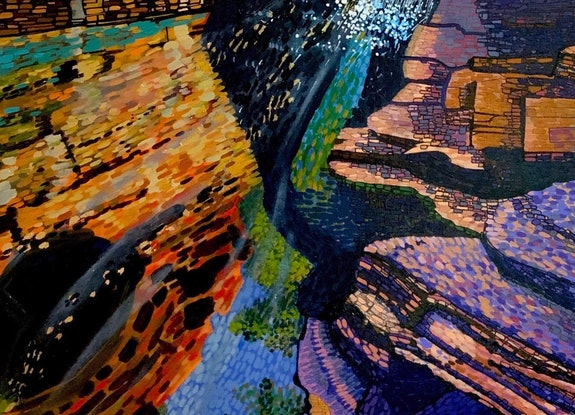 (CreativeWork) Gold Reflections  by Ericka Baker. Acrylic Paint. Shop online at Bluethumb.
