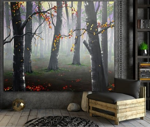 (CreativeWork) Woodland Gold by Tom Roso. Acrylic. Shop online at Bluethumb.