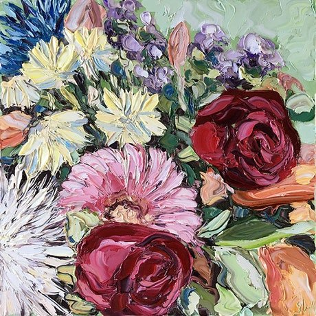 """(CreativeWork) """"Roses Are Red"""" by Sally West. Oil Paint. Shop online at Bluethumb."""