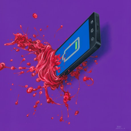 A mobile phone showing low power stuck in a surface with blood oozing on purple background.