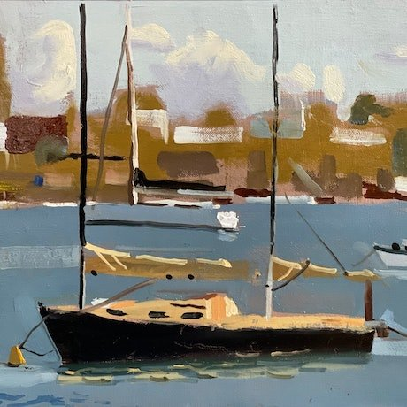 (CreativeWork) Noosa Sound 2 by Ray Wilson. Oil Paint. Shop online at Bluethumb.