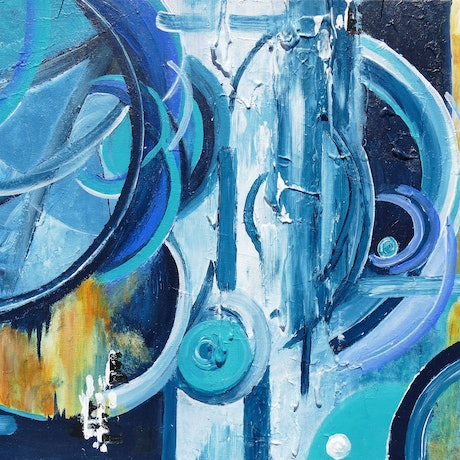 (CreativeWork) A Time in Space by Jennifer Whiteley. Acrylic. Shop online at Bluethumb.
