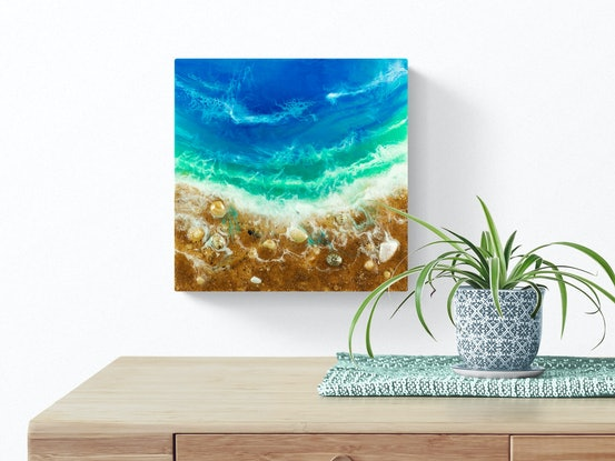 (CreativeWork) Ocean Resin Art - A Wandering Tide by Michelle Tracey. Resin. Shop online at Bluethumb.