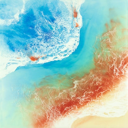 (CreativeWork) Ocean Resin Art - Blazing Beauty by Michelle Tracey. Resin. Shop online at Bluethumb.