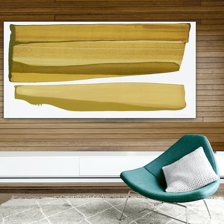 (CreativeWork) Nelson - large mustard abstract by Stephanie Laine. Acrylic Paint. Shop online at Bluethumb.