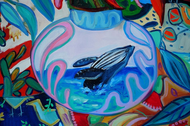 (CreativeWork) Flamenco Dancer and a Whale by Katerina Apale. Oil Paint. Shop online at Bluethumb.