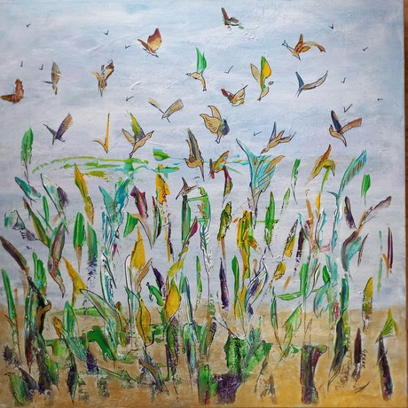(CreativeWork) Birds of a feather by Greer Roberts. Mixed Media. Shop online at Bluethumb.