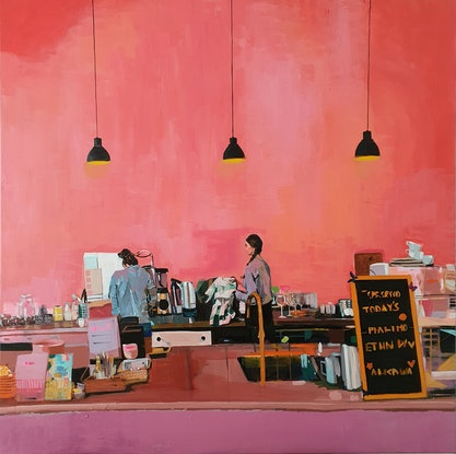 (CreativeWork) Rosy Cafe (Includes Framing) by Tulika Das. Acrylic Paint. Shop online at Bluethumb.