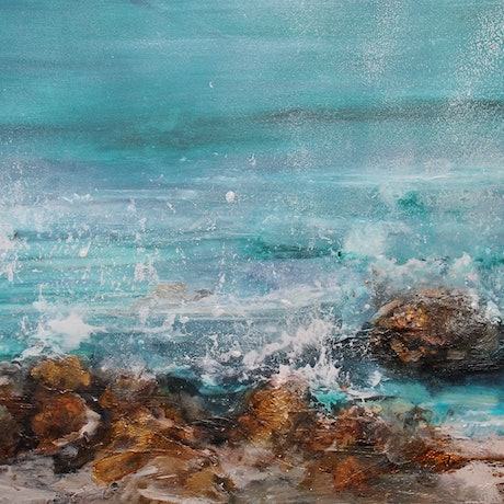 (CreativeWork) The Ocean by Sue Dyde. Mixed Media. Shop online at Bluethumb.