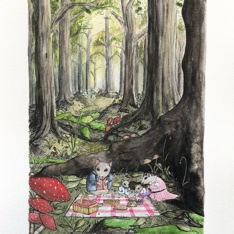 (CreativeWork) Picnic Wednesday  by Time Found Tails .. Watercolour Paint. Shop online at Bluethumb.