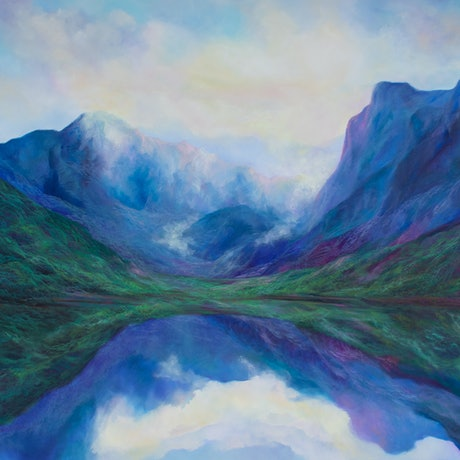 (CreativeWork) New Zealand serenity by Barbara Suttie. Oil Paint. Shop online at Bluethumb.