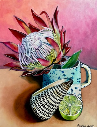 (CreativeWork) Protea & Lime by Andrea Leaver. Acrylic Paint. Shop online at Bluethumb.
